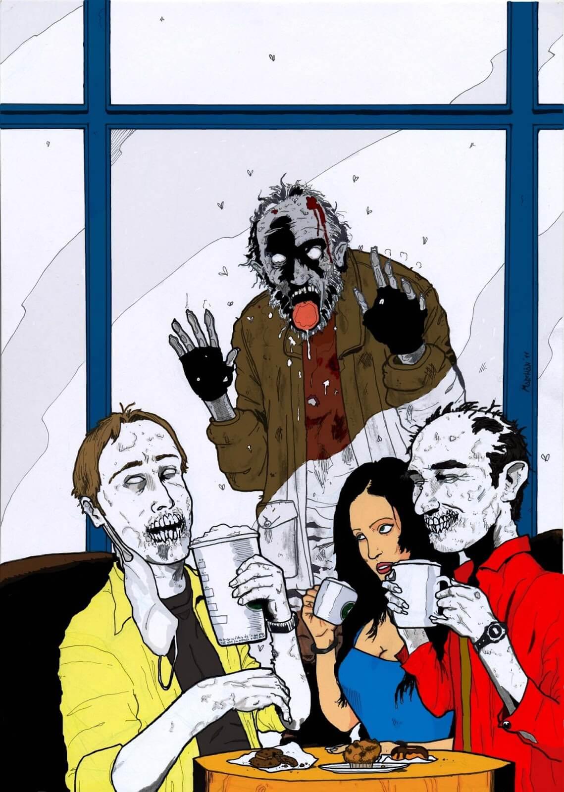 Cuento de zombies 💀 el café de media tarde